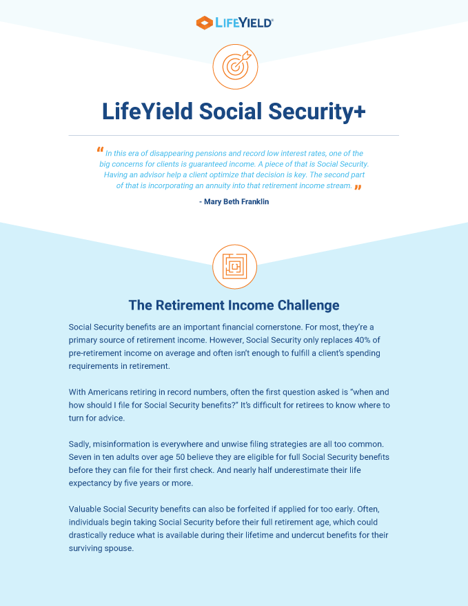 LifeYield Social Security plus one pager